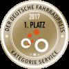 1. Platz 2017 beim Deutschen Fahrradpreis in der Kategorie 'Service'